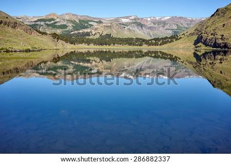 Hualcupen Lagoon,  Caviahue, Patagonia, Neuquen. Provincial Park of Copahue. - stock photo