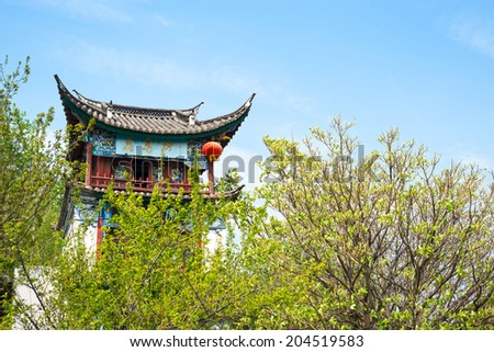 Huama Pavilion. Traditional chinese building, located in Yunnan Nationalities Village, Kunming City, Yunnan Province, China. - stock photo