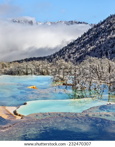 Huanglong National Park near Jiuzhaijou after snowfall - SiChuan, China - stock photo