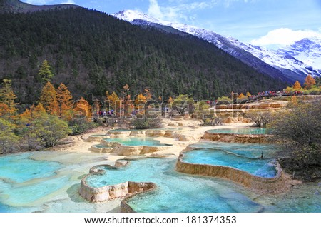 Huanglong Scenic and Historic Interest Area, SiChuan, China  - stock photo