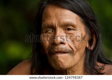 Huaorani male portrait . Waorani reserve, Yasuni national park, Ecuador - stock photo