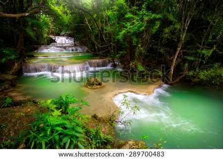 Huay Mae Kamin, Thailand waterfall in Kanjanaburi - stock photo