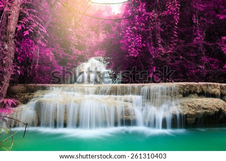 Huay Mae Kamin Waterfall, beautiful waterfall in deep forest, Kanchanaburi in Thailand - stock photo