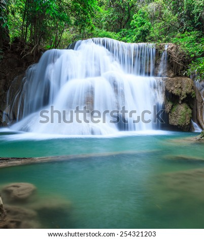 Huay Mae Khamin, paradise Waterfall located in deep forest of Thailand - stock photo