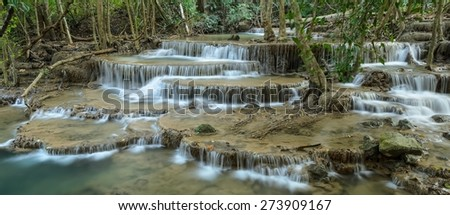 Huay Mae Khamin Waterfall, Paradise waterfall in Tropical rain forest of Thailand - stock photo