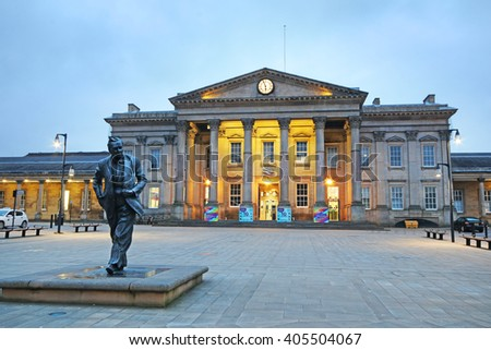 HUDDERSFIELD, UK - APRIL 14, 2016: Huddersfield train station. Huddersfield  is a large market town and the largest settlement in the metropolitan borough of Kirklees, West Yorkshire, - stock photo