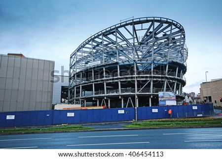 HUDDERSFIELD, UK - APRIL 16, 2016: Structural steelwork for a Huddersfield University building. Huddersfield is a large market town and the largest settlement in the metropolitan borough of Kirklees,  - stock photo