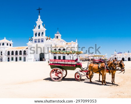 HUELVA, SPAIN - MAY 30: Sanctuario del Rocio on May 30, 2015 in Huelva, Spain. It is one of the most famous pilgrimage of Spain. - stock photo
