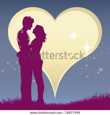 hug lover with moon heart - stock photo