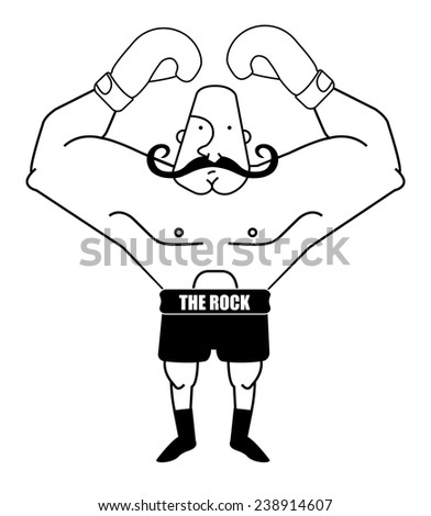 Huge, bald, retro style boxer. Black and white contour lines illustration isolated on white - stock photo