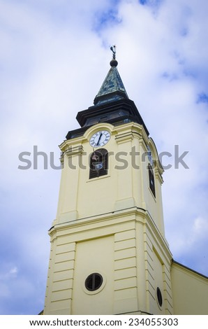 Huge beautiful lutheran church in hungary (szarvas)  - stock photo