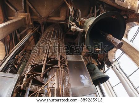 Huge bells inside San Marco Campanile, Venice, Italy - stock photo