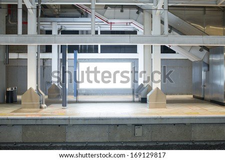 huge Blank Billboard with empty copy space in airport (path in the image) - stock photo