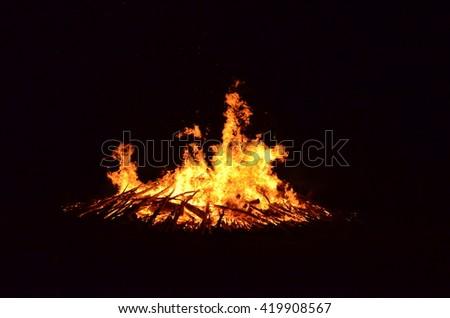 Huge bonfire - stock photo