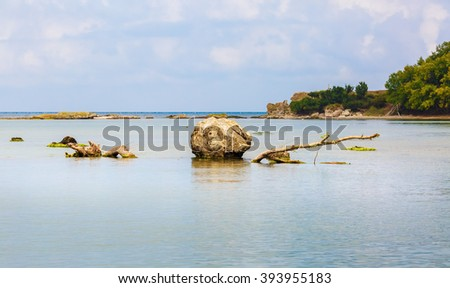 Huge boulder sticking out of the water at the mouth of the Ropotamo River to the Black Sea in Bulgaria. Calm seascape. Shallow depth of field. Selective focus. - stock photo