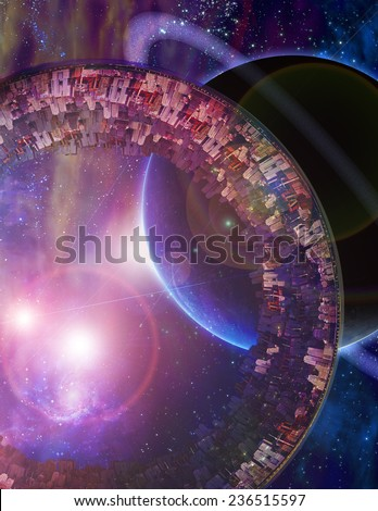 Huge City Multi-Generational City Ship Encounters New Planet Elements of this image furnished by NASA - stock photo
