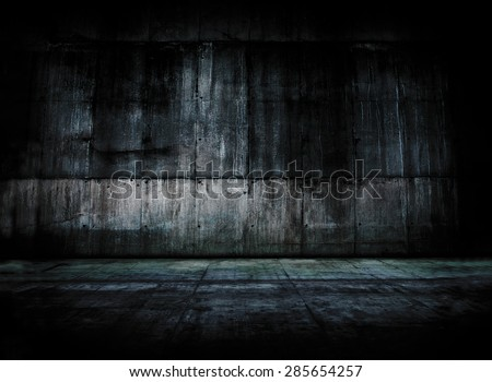 Huge concrete wall and floor. Empty concrete space.  - stock photo