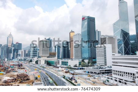 Huge Construction Site in Hong Kong and sky - stock photo