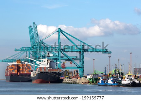 Huge container ships being loaded with cranes in Antwerp container terminal - all recognizable logos and brands have been removed  - stock photo