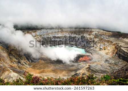 Huge crater of the Poas Volcano, Costa Rica - stock photo