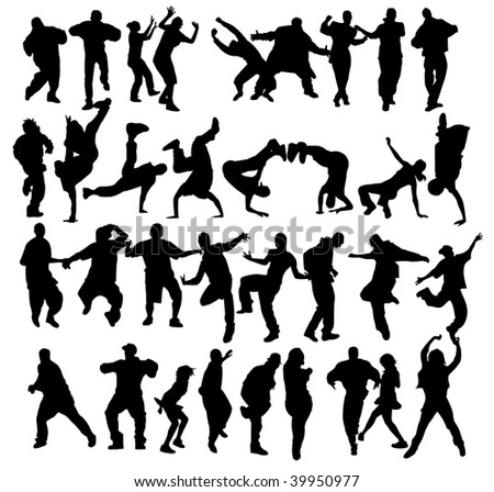 Huge crowd of dancers silhouettes with several styles. - stock photo