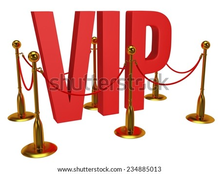 Huge 3d letters VIP and golden rope barrier isolated on white 3d render. Very important person concept. - stock photo
