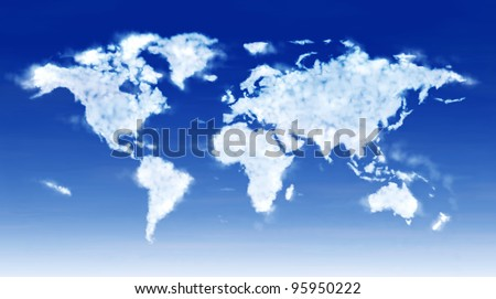 Huge digital illustration image of the world map composed by fluffy softly clouds - stock photo