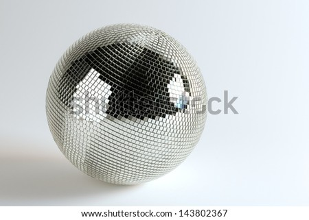 Huge Disco Ball On White Background - stock photo