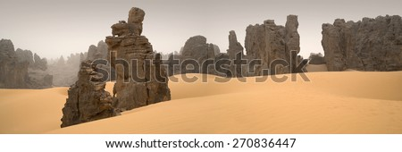 Huge dunes of the desert. Fine place for photographers and travelers. Beautiful structures of sandy barkhans. Fantastic nature of Sahara.  - stock photo