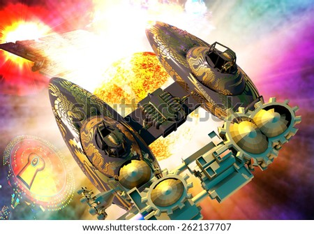 Huge explosion in the space - stock photo