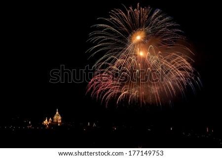 huge fireworks in Malta - stock photo