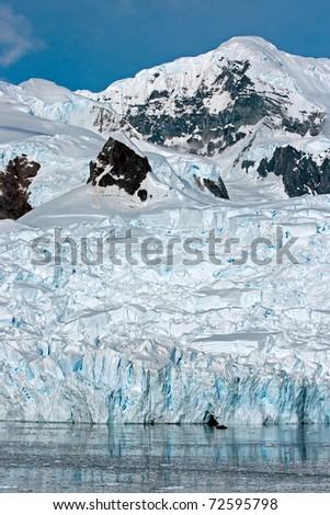 Huge glacier in Paradise Bay, Antarctica - stock photo