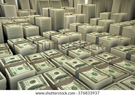 huge group of dollar stacks - stock photo