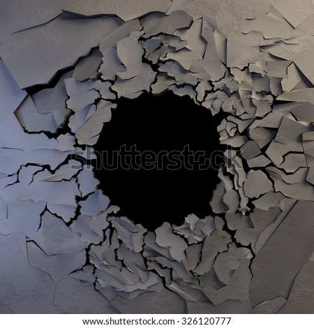 Huge Hole with Earth Crack - stock photo
