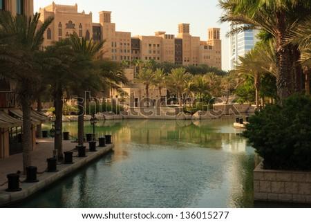 Huge hotel complex, built in the desert of Dubai, in the spirit of Venice - stock photo