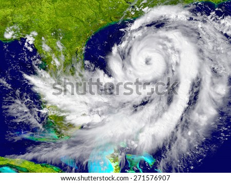 Huge hurricane near Florida in America. Elements of this image furnished by NASA - stock photo
