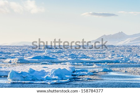 Huge ice pieces float in Antarctica - stock photo