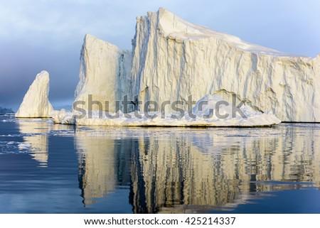 Huge icebergs in Ilulissat, Greenland, North Pole. - stock photo