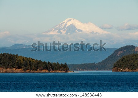 Huge Mount Baker, seen from the sea - stock photo
