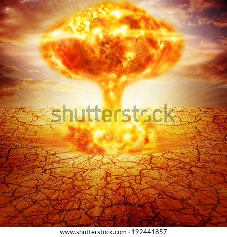 Huge nuclear explosion  - stock photo