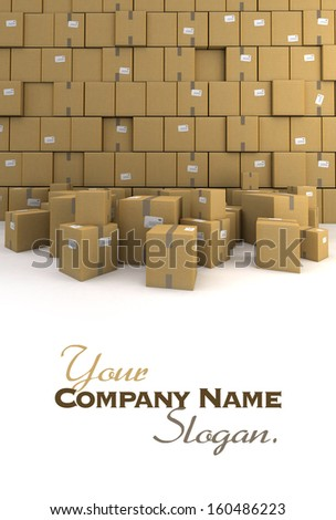 Huge pile of cardboard boxes, forming a wall, ideal for backgrounds - stock photo