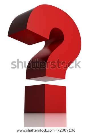 Huge red question mark isolated on white background. 3d - stock photo
