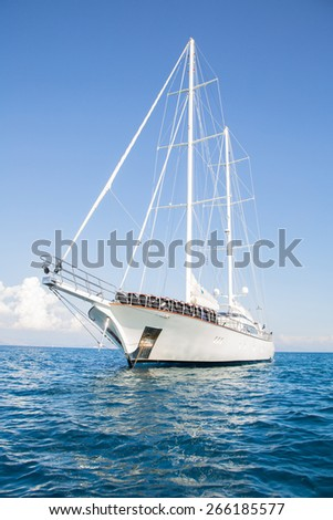 Huge sailing ship with two mast. - stock photo