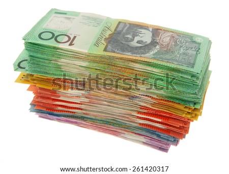 Huge Stack of Australian Money - Aussie currency - stock photo