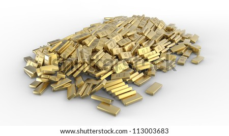 Huge stack of gold ingots on white background - stock photo
