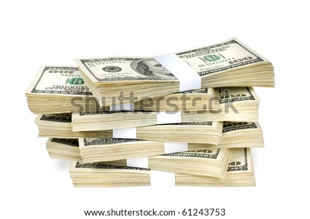 Huge stack of prop money. Bundled in $10000 dollar stacks. Isolated on white. - stock photo