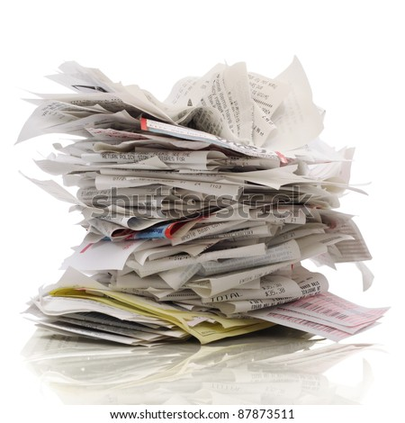 Huge stack of receipts on a white background - stock photo