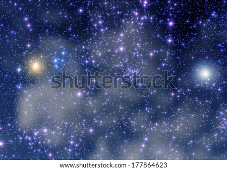 Huge star-field in the Milky Way with strong star-spikes.  - stock photo