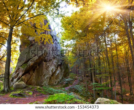 Huge stone in the autumn forest - stock photo