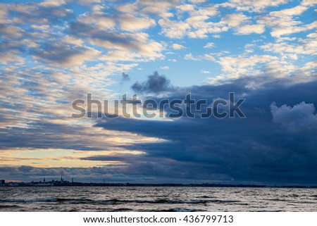 Huge storm clouds over Baltic sea - stock photo